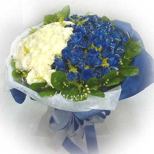 御花苑-愛你久久藍白玫瑰花
