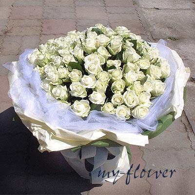 御花苑-99朵白玫瑰花束-花店情人節暢銷花束