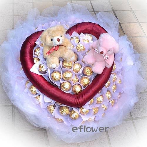 小熊金莎花束5005-情人甜蜜久久金莎花束花店暢銷品