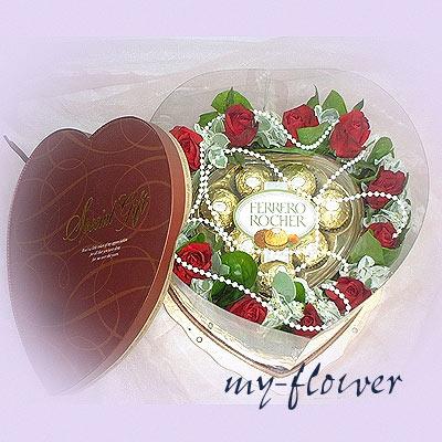 5017金莎花束-甜蜜情人之愛巧克力花禮