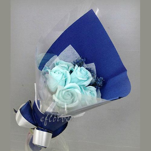 玫瑰花香皂花束(藍)