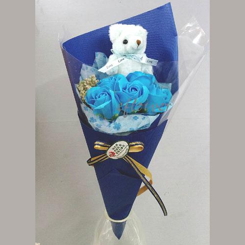 小熊玫瑰花香皂花束(藍)